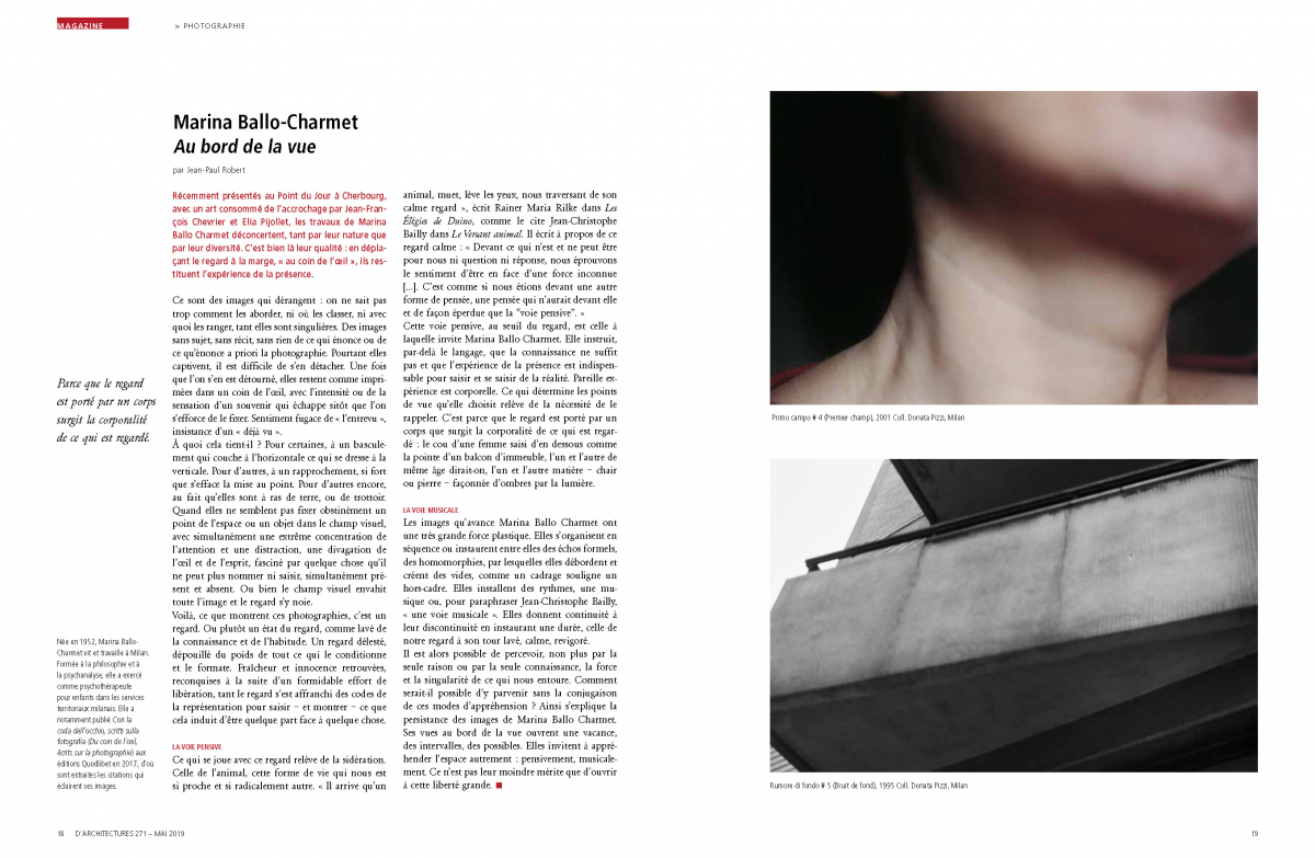 Marina Ballo Charmet, Au bord de la vue, d'A - d'architecture n. 271, maggio 2019